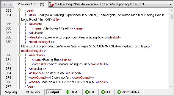 Portion of MapForce XML Output