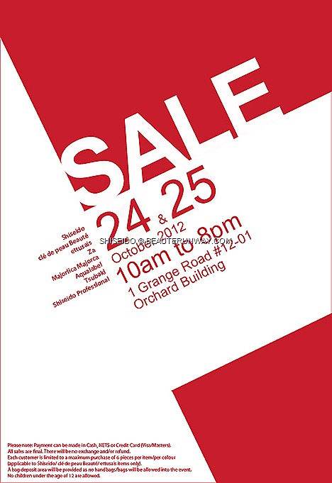 SHISEIDO SALE 2012 WAREHOUSE Singapore Skincare Cosmetics Limited Edition Christmas Collection Cle De Peau Beaute skincare cosmetics Ettusais Majolica Majorca ZA aqualabel tsubaki head spa hair care Shiseido Professional Maquillage