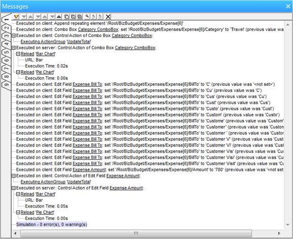 MobileTogether Messages Window Logs Simulator Activity