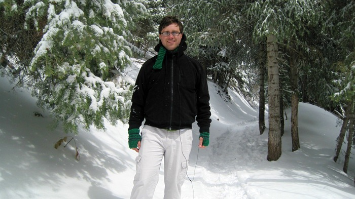 Taylor snowshoeing on Pipeline Trail in Millcreek Canyon Utah