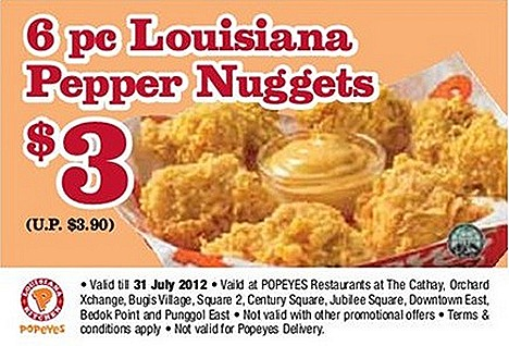 Popeyes Louisiana Pepper Chicken Nugget offer 6 piece $3 Usual $3.90 July august offer national day chicken, tenders, fish, coleslaw, mashed poatato, milo drink with anit dust cap