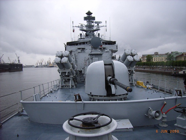 Brahmaputra Class Guided Missile Frigate warship, INS Beas of the Indian Navy at St. Petersburg in Russia