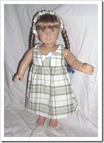 Cute green plaid dress for an American Girl doll.