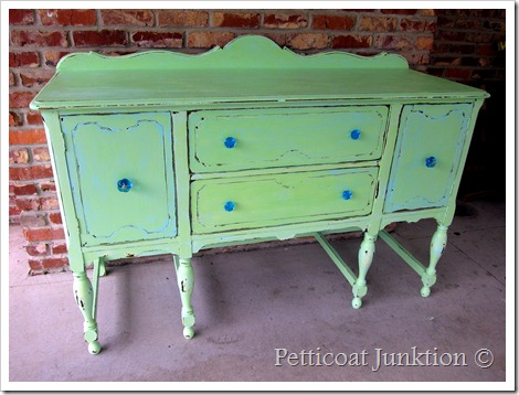 painted-sideboard-buffet-green-turquoise-before-after