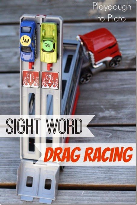 Sight Word Game - Kids will love this sight word game that uses hot wheel cars. So much fun for preschool and kindergarten boys especially!