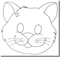 Máscara gato para imprimir, en color o para colorear