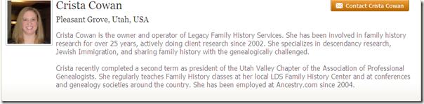 Ancestry.com..上的Crista Cowan个人资料
