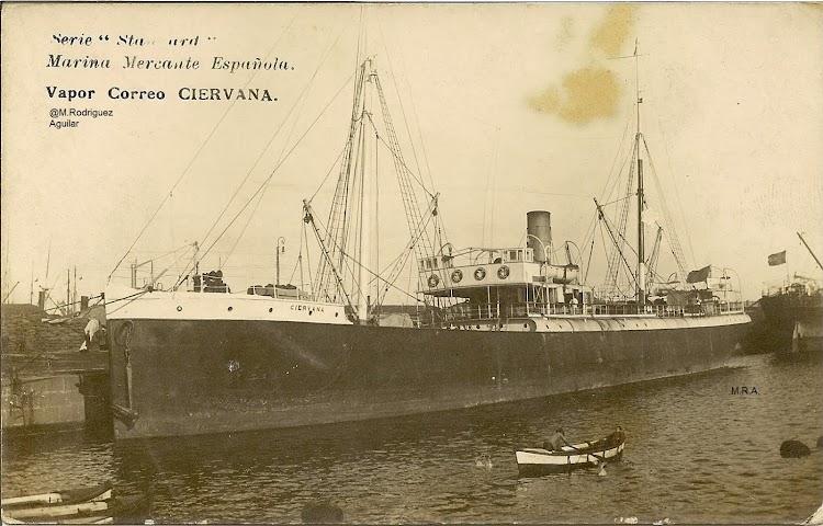 Vapor CIERVANA en el puerto de Barcelona. Postal. Colección Manuel Rodriguez Aguilar. Esta foto no puede ser reproducida sin permiso del propietario.jpg