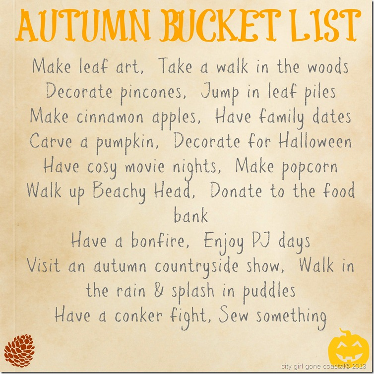 autumn bucket list 2013
