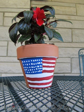 Plaid Paint flower pot