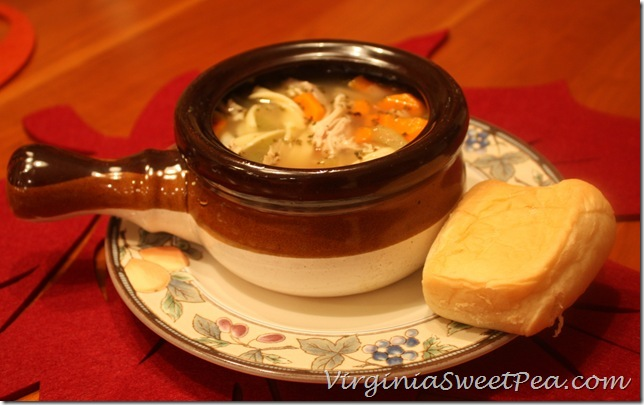 Turkey Noodle Soup with Roll