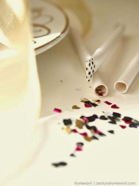 New Year's Eve Confetti Straws via homework | carolynshomework.com