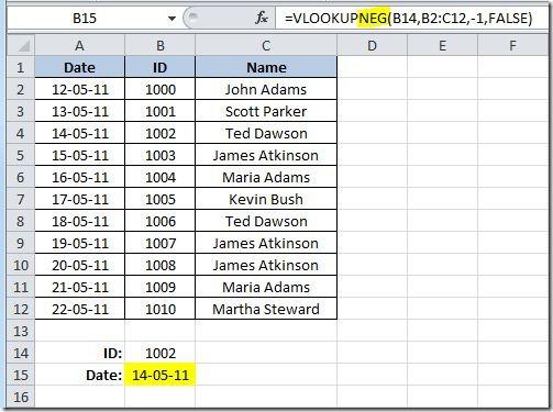 Excel-User com: Negative VLOOKUP()–return the value to the