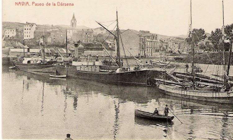 El ALLER en navia. Postal. Flickr. Colección Begoña Maza.jpg