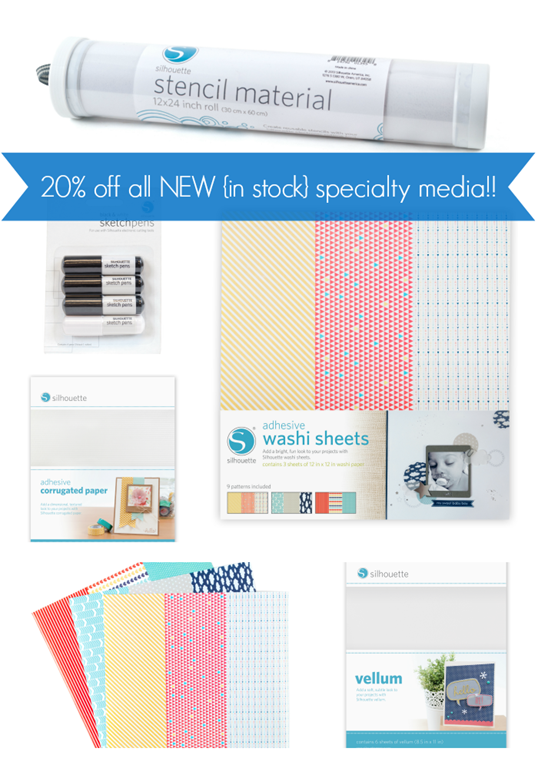 20 off all new in stock specialty media at SilhouetteAmerica.com #affiliate GingerSnapCrafts.com