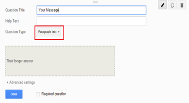 Message box of Google form