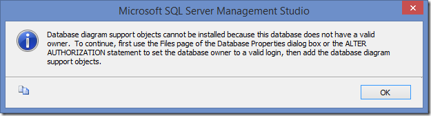 SQL Server Management Studio information dialog