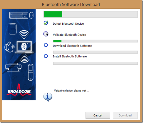 Broadcom Bluetooth Software Download application screenshot