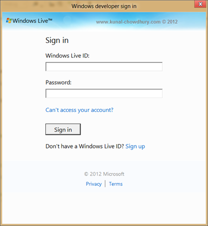 Windows 8 Developer License - Sign-In with Live Account