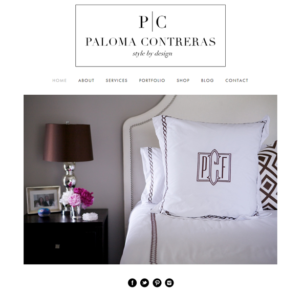 Paloma Contreras Design | Custom Monogrammed Bedding | David Hicks La Fiorentina | Serena & Lily Pondicherry Headboard