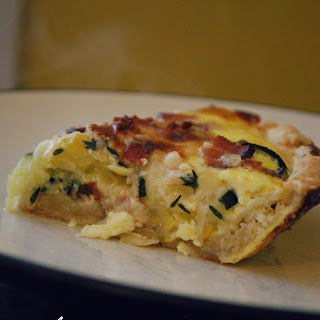 Squash, Bacon and Mozzarella Quiche