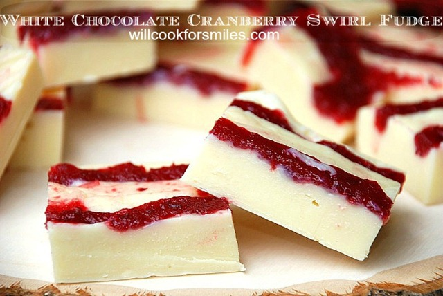 White Chocolate Cranberry Swirl Fudge ed