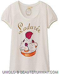 UNIQLO Laduree Singapore UT Have your Laduree Macarons and wear it, only UNIQLO allows you to   indulge in Ladurée, the world famous French Patisserie in a whimsical yet fashionable style. Ma cherie, tres chic ladies tee