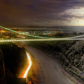 Night and Day Clifton Suspension Bridge by Simon West - Buildings & Architecture Bridges & Suspended Structures ( structure, suspension, night, day, bridge, landscape, clifton, bristol )