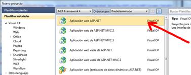 Creando la nueva aplicación web ASP.NET