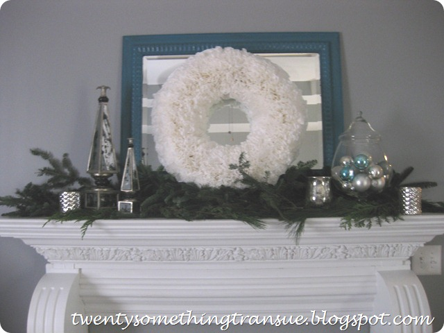 Blue and White Christmas Mantel 2