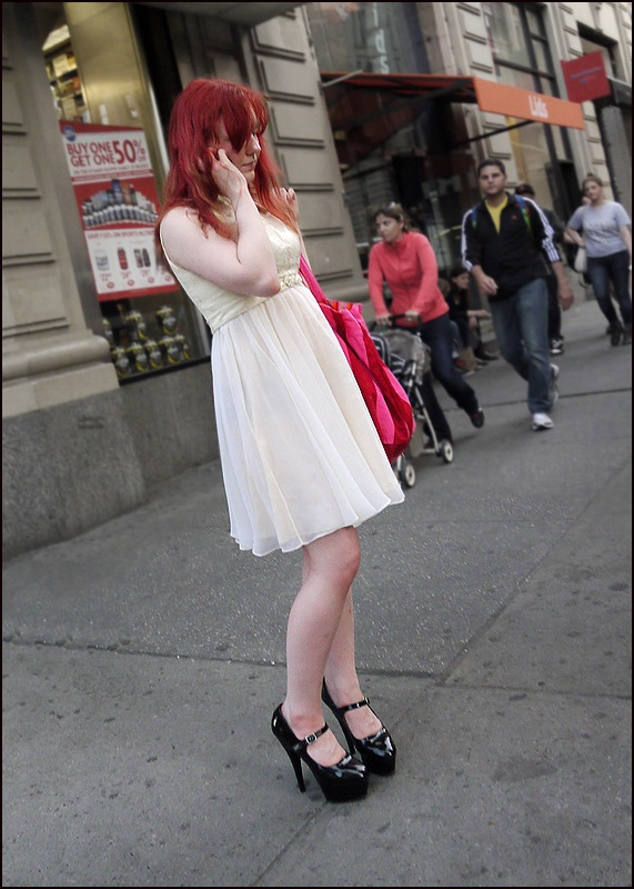 w black platform heels cream short dress red hair ol