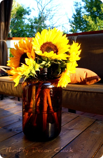 amber jar sunflowers