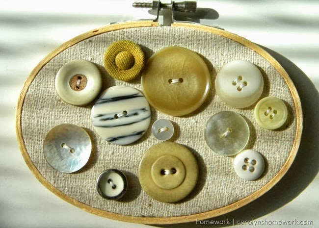 Vintage button display in an embroidery hoop via homework |carolynshomework.com