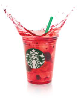 Woman In Digital Starbucks Refreshers Very Berry Hibiscus And Cool