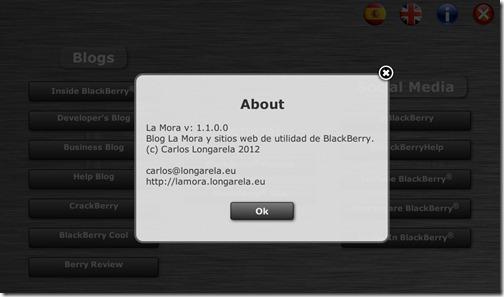 Versión 1.1 de la App La Mora para PlayBook