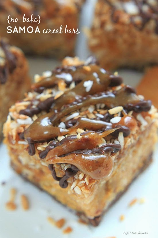 {No-Bake} Samoa Peanut Butter Cereal Bars by ----- @LifeMadeSweeter.jpg