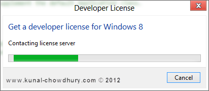 Windows 8 Developer License - Contacting License Server