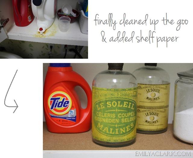 organizing laundry room shelves