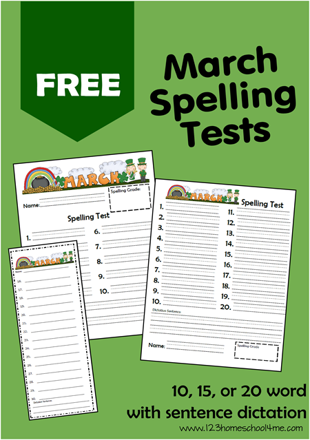 Free March Spelling Test for Homeschoolesr K-6th Grade