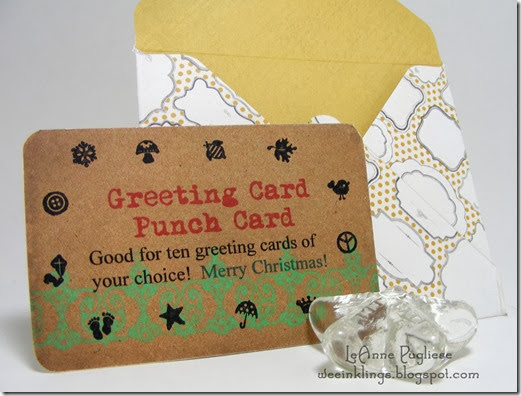LeAnne Pugliese WeeInklings Stampin Up Punch Card & Envlelope