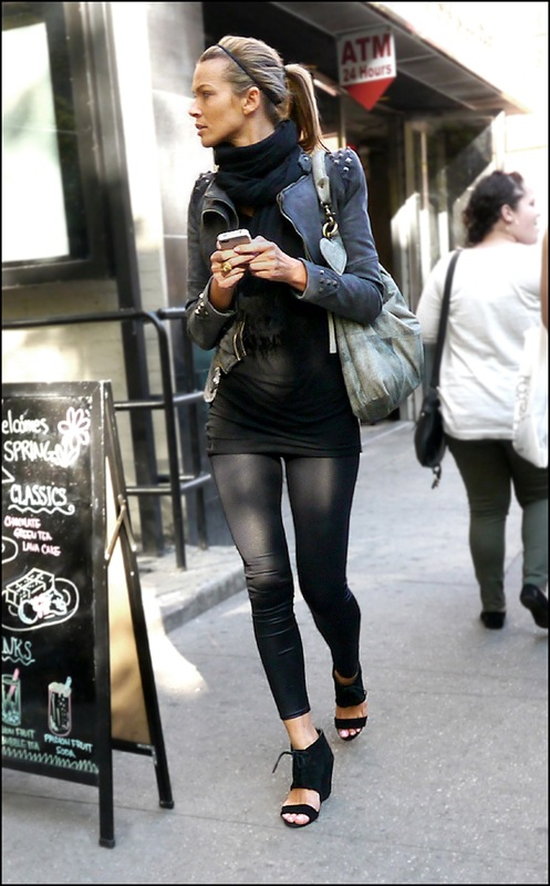 8 w black leggings black mini dress grey cropped biker jacket with studded shoulders and cuffs black scarf pony tail open toe ankle boot wedge sandals ol