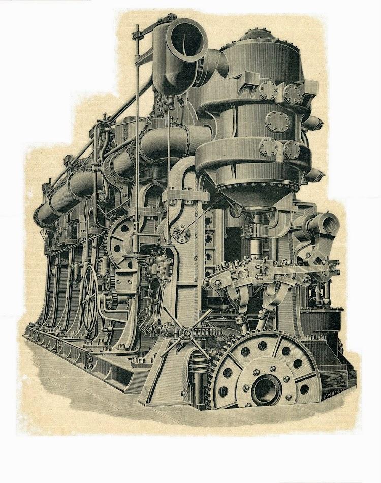 Maquinas principales del CARLOS V. De la Revista El Mundo Naval Ilustrado. Año 1.987. Grabado de la revista Engineering.JPG