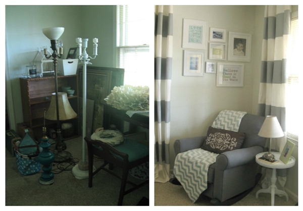corner of nursery before and after