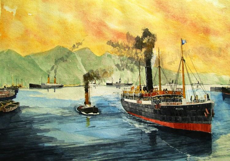 El vapor ATLANTE entrando en Tenerife. Acuarela de El Ilustrador de Barcos. Del libro Historias de la Marina Mercante Española. Vol. 1.JPG