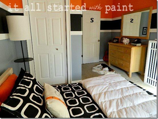 Teen Boy Bedroom In Orange, Gray, Black
