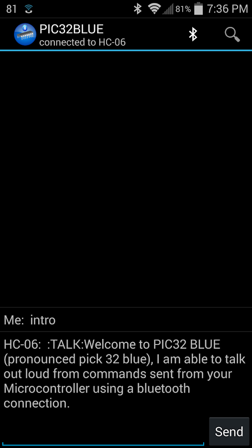 PIC32BLUE+ (Bluetooth control)- screenshot