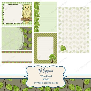 JC002 Woodland journal cards printable paper owl leaf 1