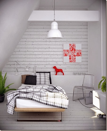 Romantic-Grey-Bedroom-Design-with-Red-Puppy-Dol