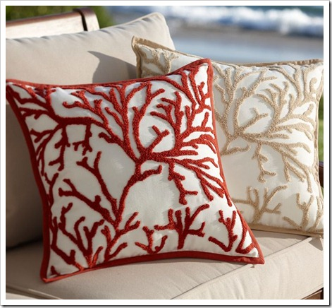 Pottery Barn branch coral Pillow