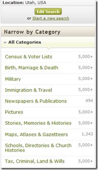 这Ancestry.com category filters
